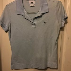 Light blue Lacoste collared shirt